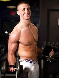 Hot jock Connor Kline is back at the gym working out and showing off his bulging muscles