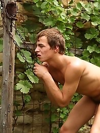 Two sexy gay guys hard fuck in the garden