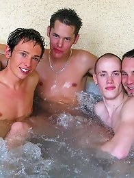 Two gay couples staged a group sex in the pool